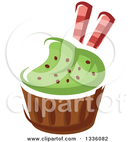 Clipart Of A Cartoon Cupcake With Blue Frosting Cranberries And