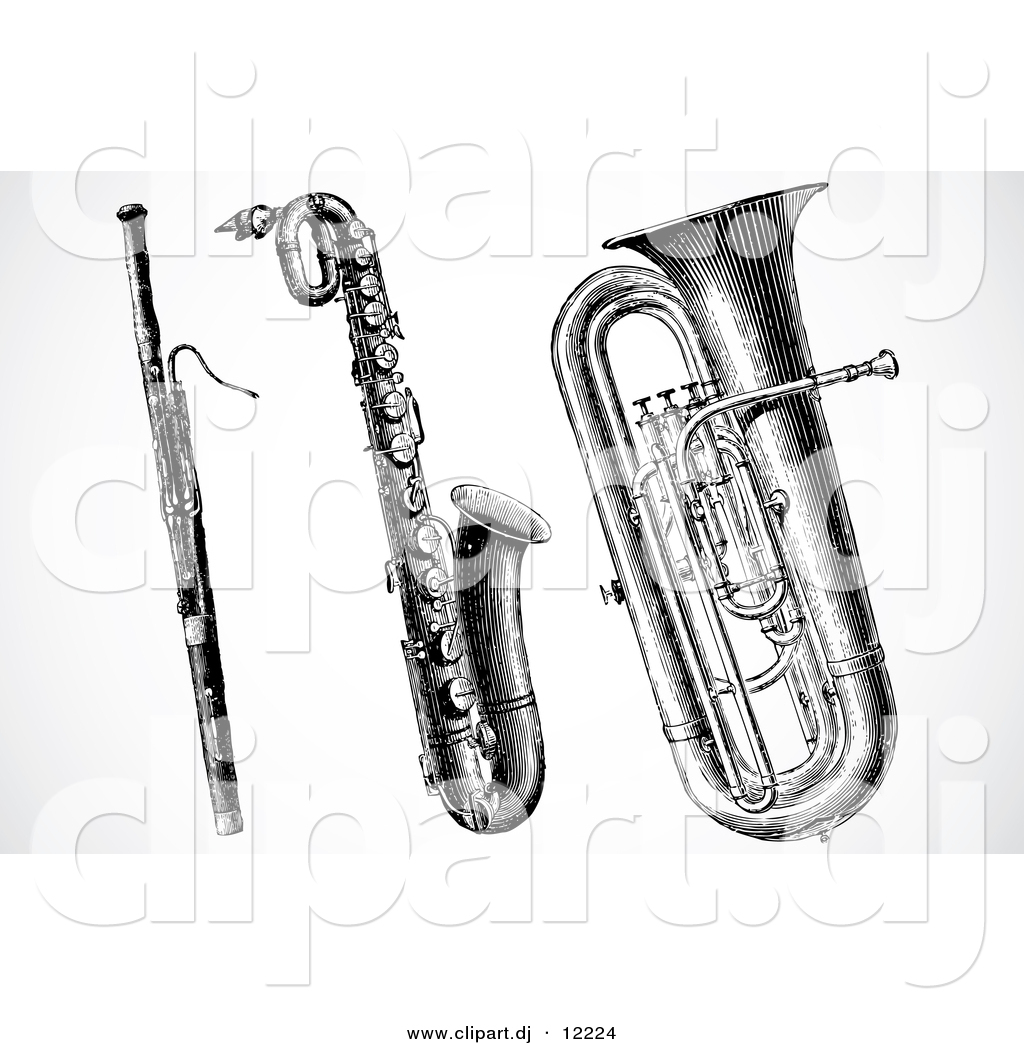 Clipart Of A Clarinet Saxophone And Tuba   Digital Black And White