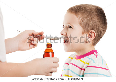 Doctor Hand Giving Spoon Dose Of Medicine Liquid Drinking Syrup To