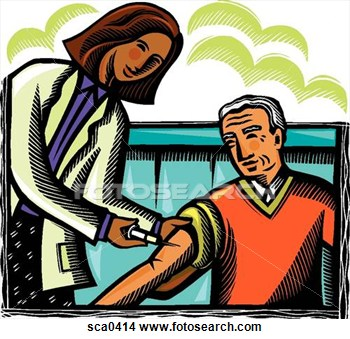 Drawing   Doctor Giving A Patient A Shot  Fotosearch   Search Clip Art