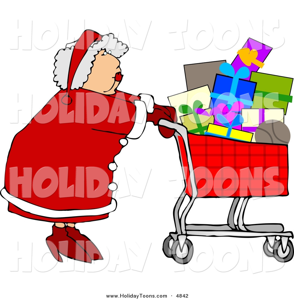 Free Holiday Clipart Of Acaucasian Mrs  Claus Pushing A Shopping
