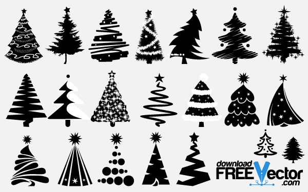 Free Vector Christmas Tree Silhouettes   123freevectors