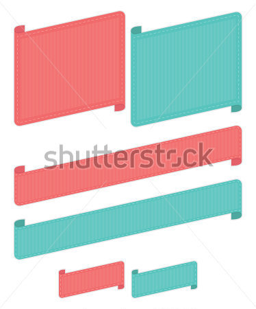 Miscellaneous   Red And Blue Stitched Ribbons Isolated On White