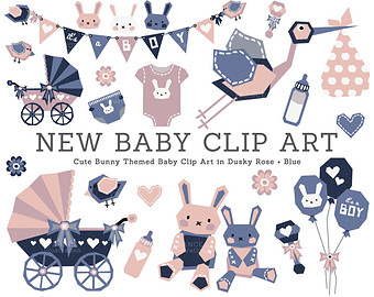 New Baby Clipart Elements  Boy And Girl  Pink Blue Baby Shower Bunny