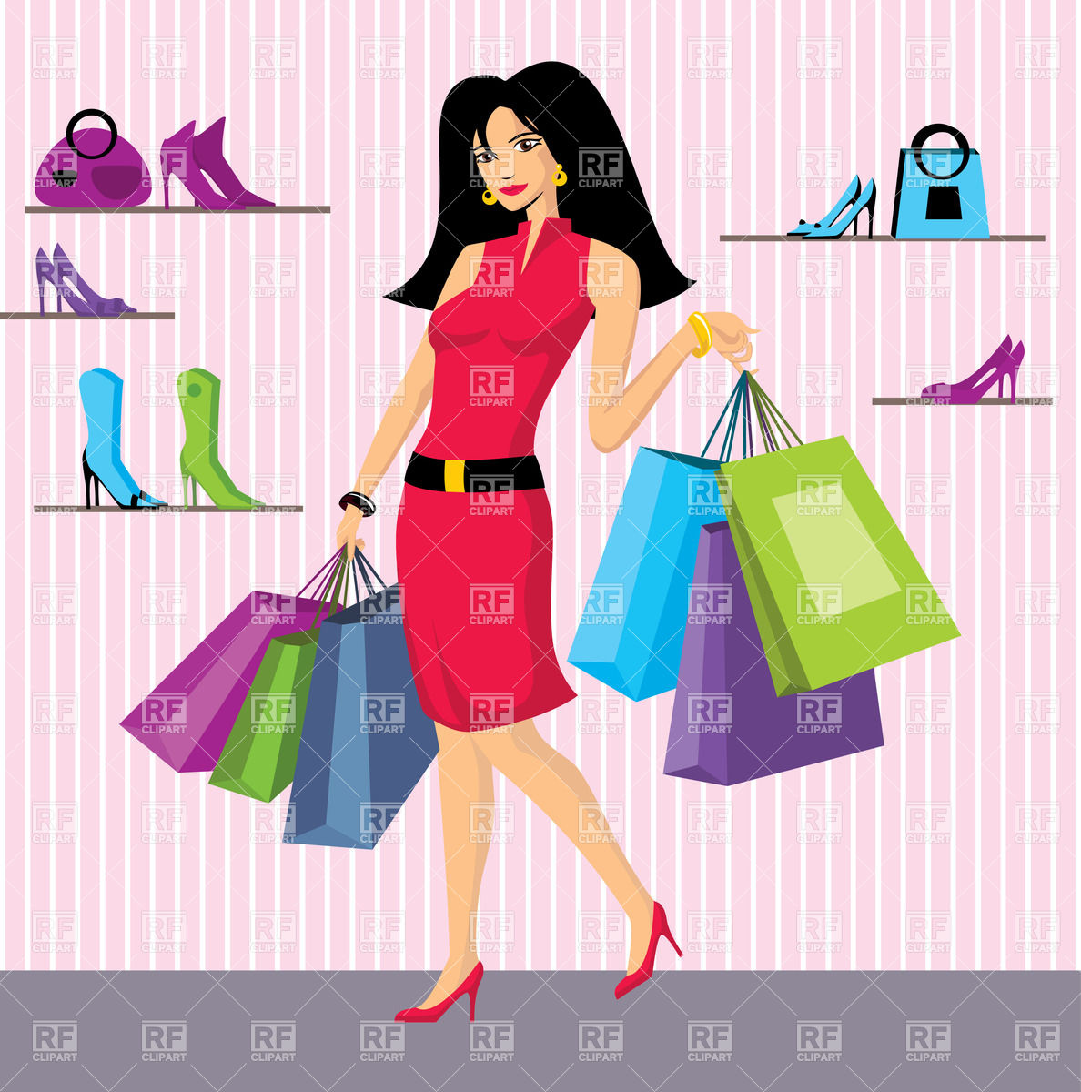 Shopping Bags In Shoes Shop Download Royalty Free Vector Clipart  Eps