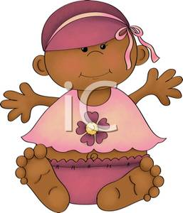 African American Baby Wearing A Bonnet   Royalty Free Clipart Picture