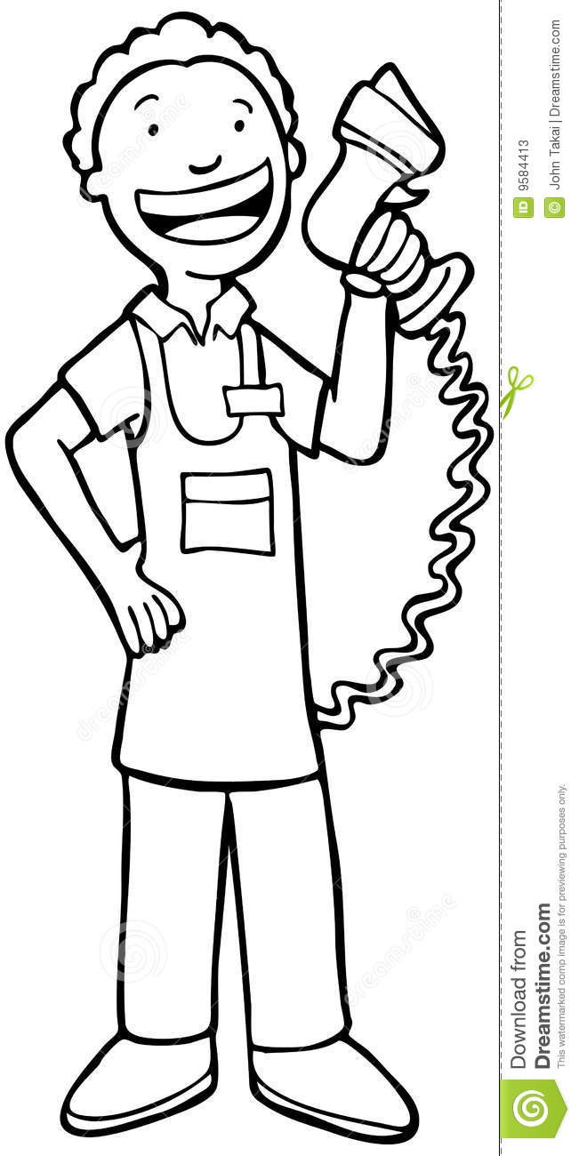 Apron Clip Art Black And White Cashier Man   Black And White