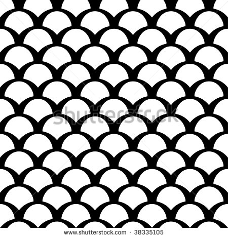 Black And White Squama Vector Seamless Pattern   Stock Vector