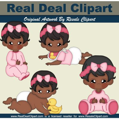 Home    Clipart    Baby Clipart    Baby Girl  African American
