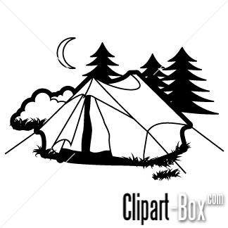 Camping cartoon black and white