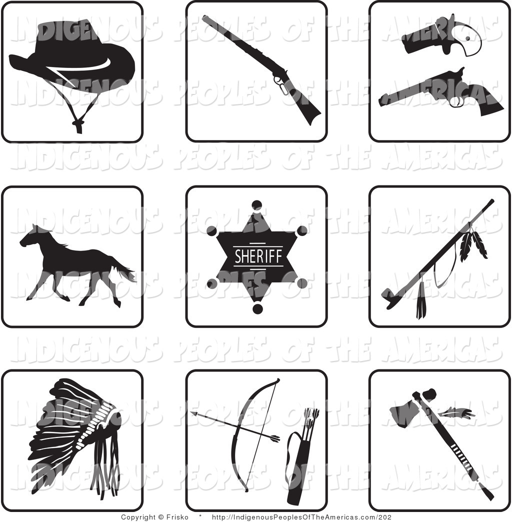 Vector Clipart Of Black And White Old West And Native American