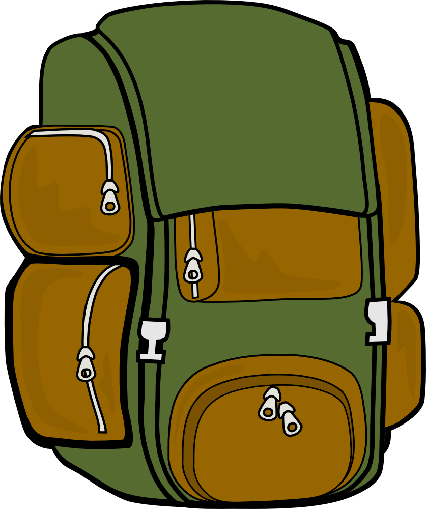 Bookbag Clipart Backpack Clipart Markc09 Backpack  Green Brown  Png