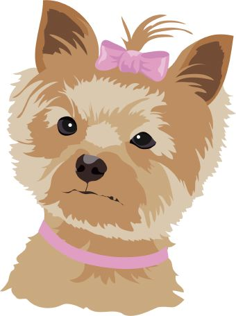 Clip Art Of A Small Brown And Tan Dog Wearing A Pink Bow