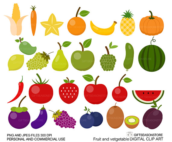 Fruit And Vegetable Clipart Geqlstx02
