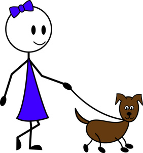 Girl Walking Small Dog   Clipart Best