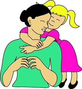 Mother And Daughter Clipart Image   Little Girl Hugging Her Mom