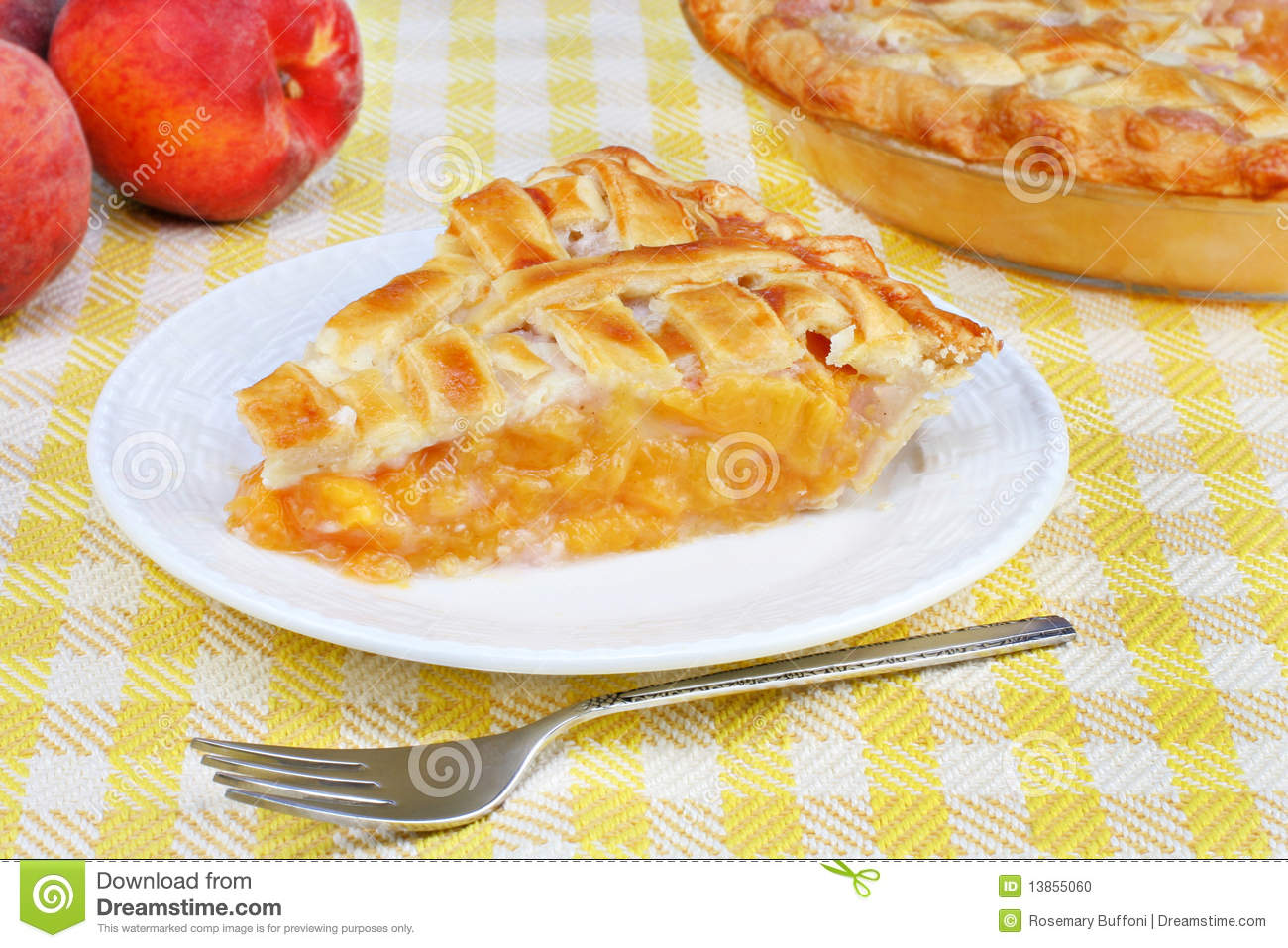 One Slice Of Fresh Peach Pie With A Lattice Top