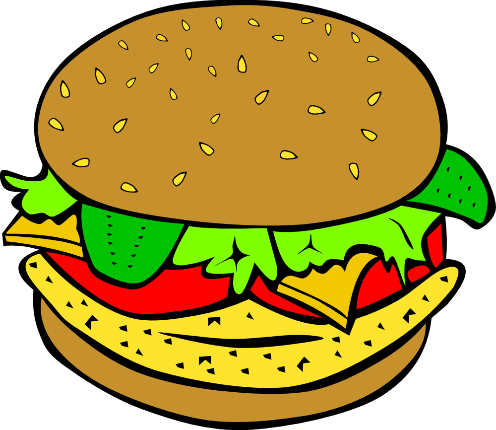 Onlinelabels Clip Art   Fast Food Lunch Dinner Chicken Burger