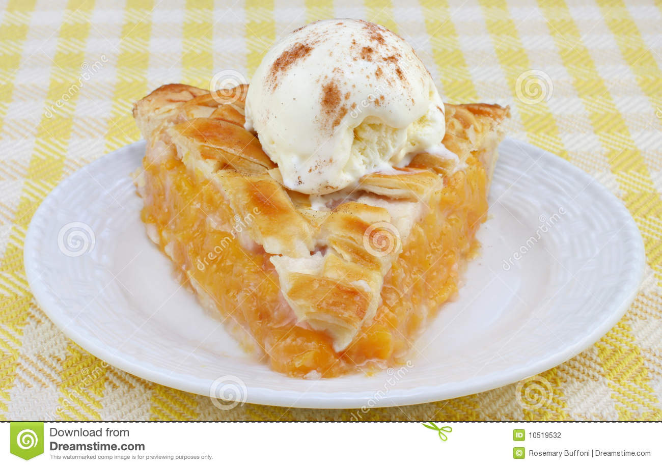 Peach Pie Ala Mode Front View Stock Photography   Image  10519532
