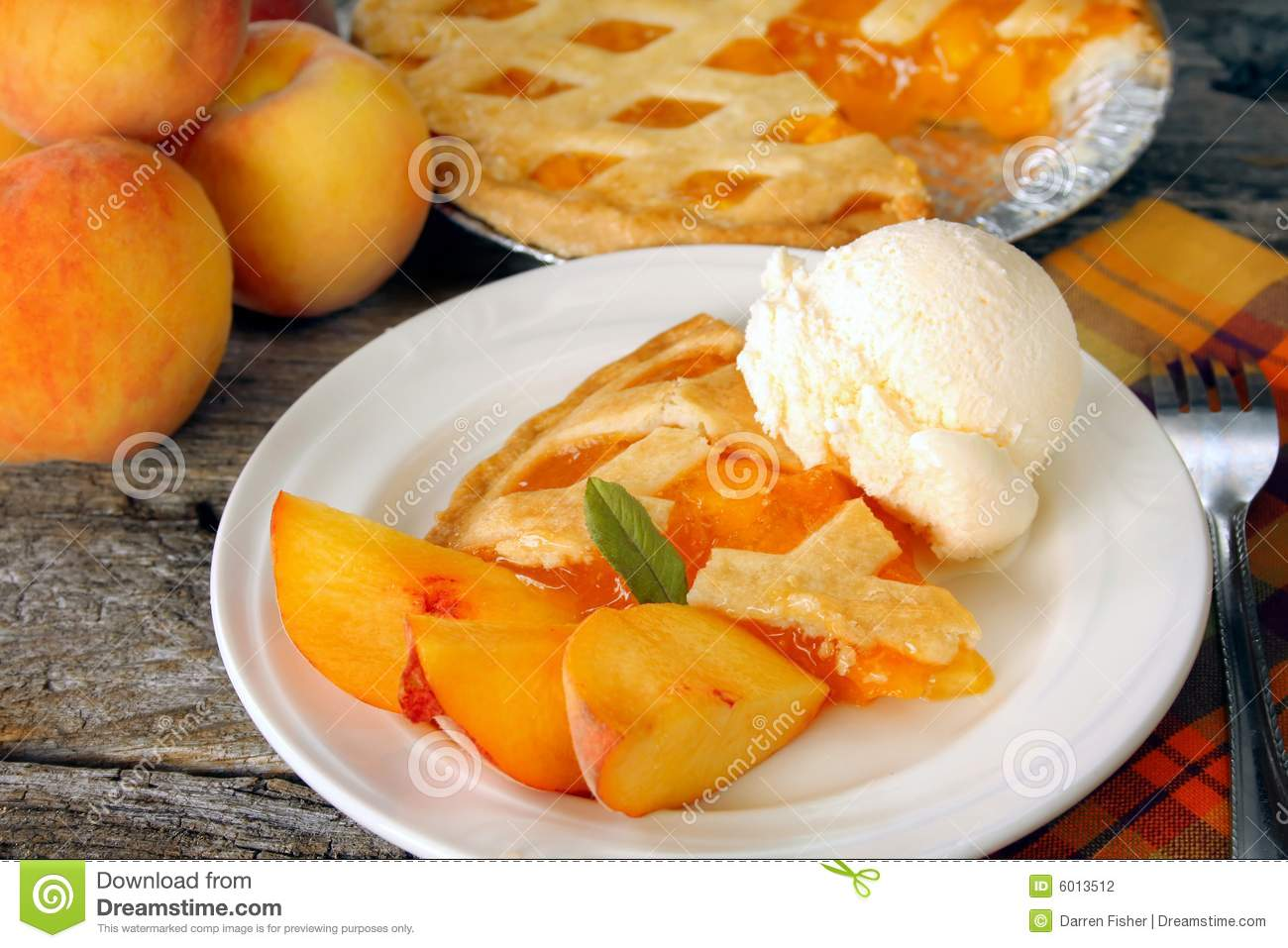 Peach Pie And Ice Cream Stock Photography   Image  6013512