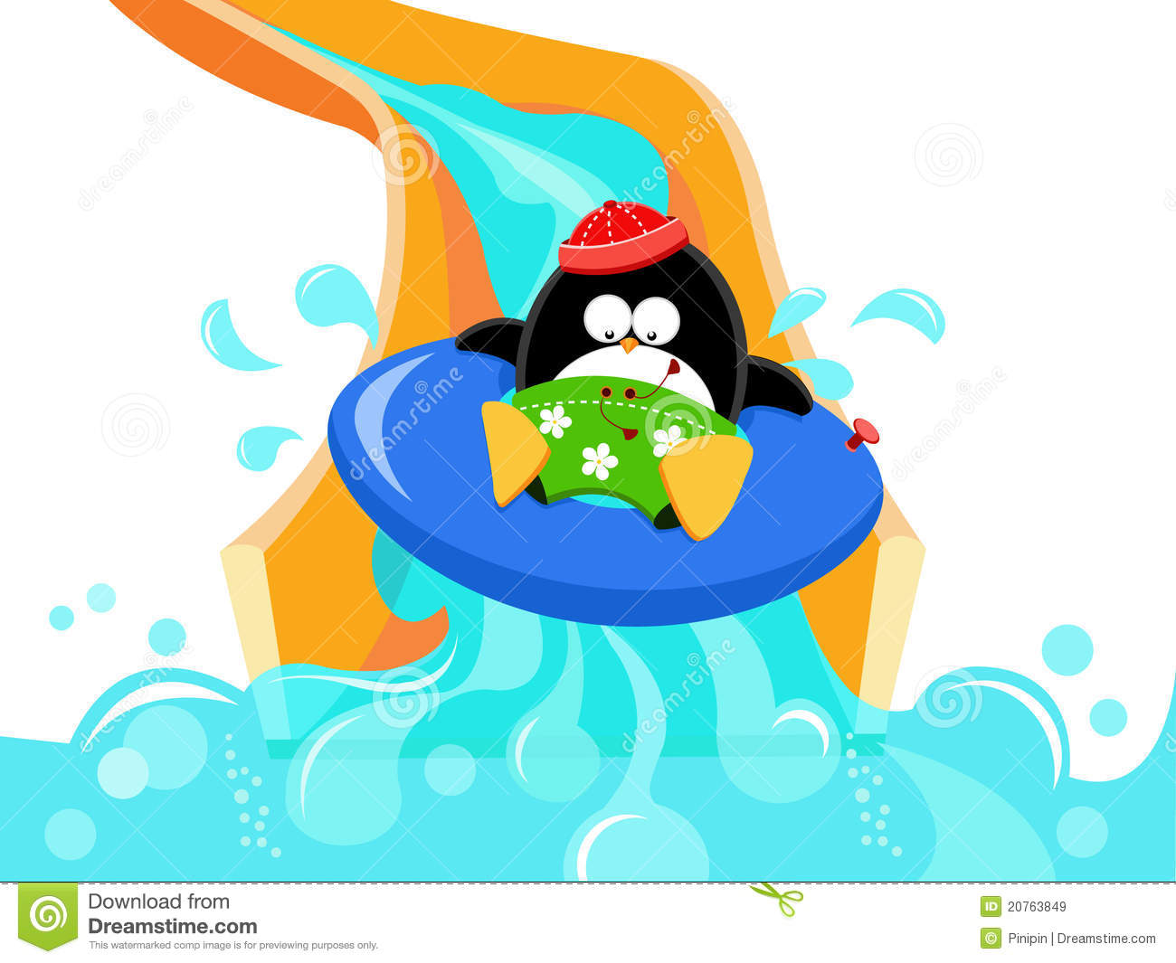 Penguin On Water Slide Royalty Free Stock Images   Image  20763849