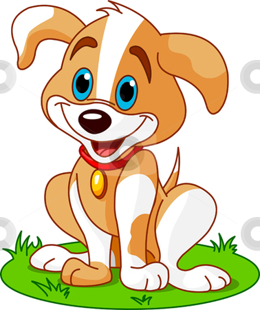 Puppy Illustration Stock Vector Clipart Cute And Funny Puppy By Anna