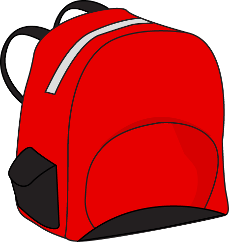 Red Backpack Clip Art Image   Red Backpack With Black Pockets And