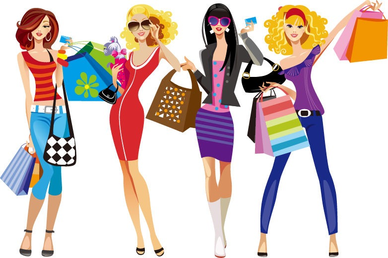 Shopping Girls Vector Illustration   Free Vector Graphics   All Free