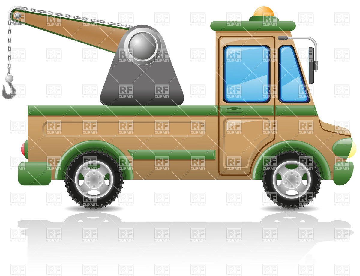 Tow Truck   Side View Download Royalty Free Vector Clipart  Eps