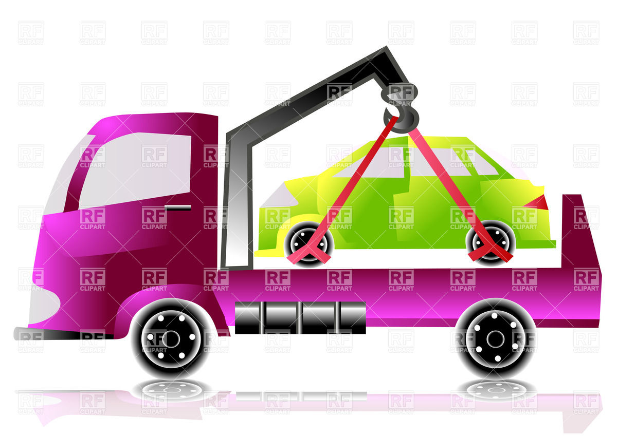 Tow Truck With Small Car 25396 Download Royalty Free Vector Clipart