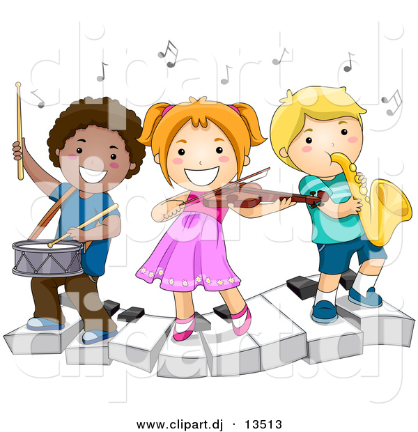 Vector Clipart Of A Happy Kids Playing Instruments On A Keyboard