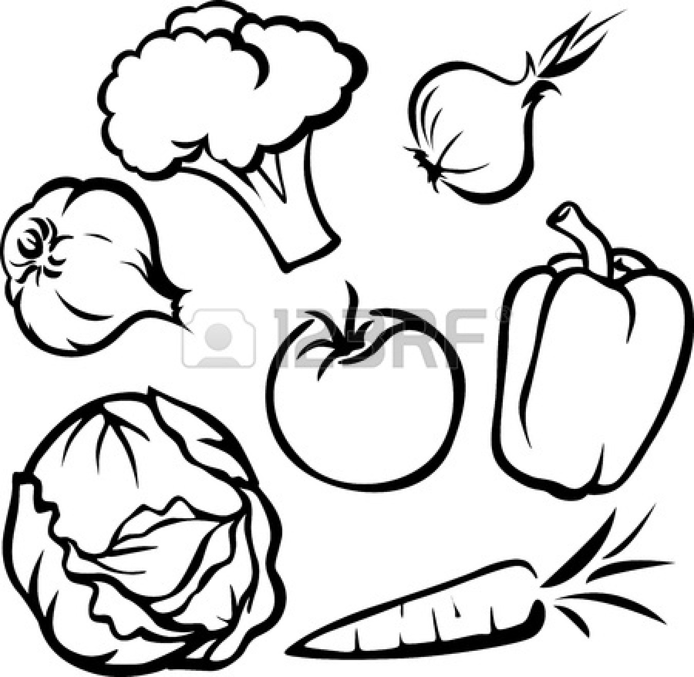 Vegetables Clipart Black And White Fruit And Vegetable Clipart Black