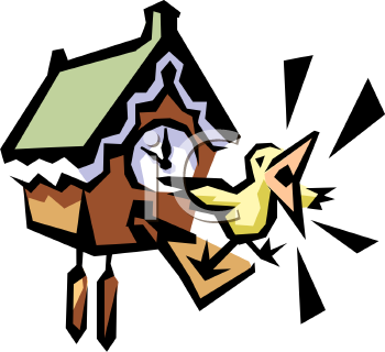 1009 0819 2320 Bird Squawking From A Cuckoo Clock Clipart Image Jpg