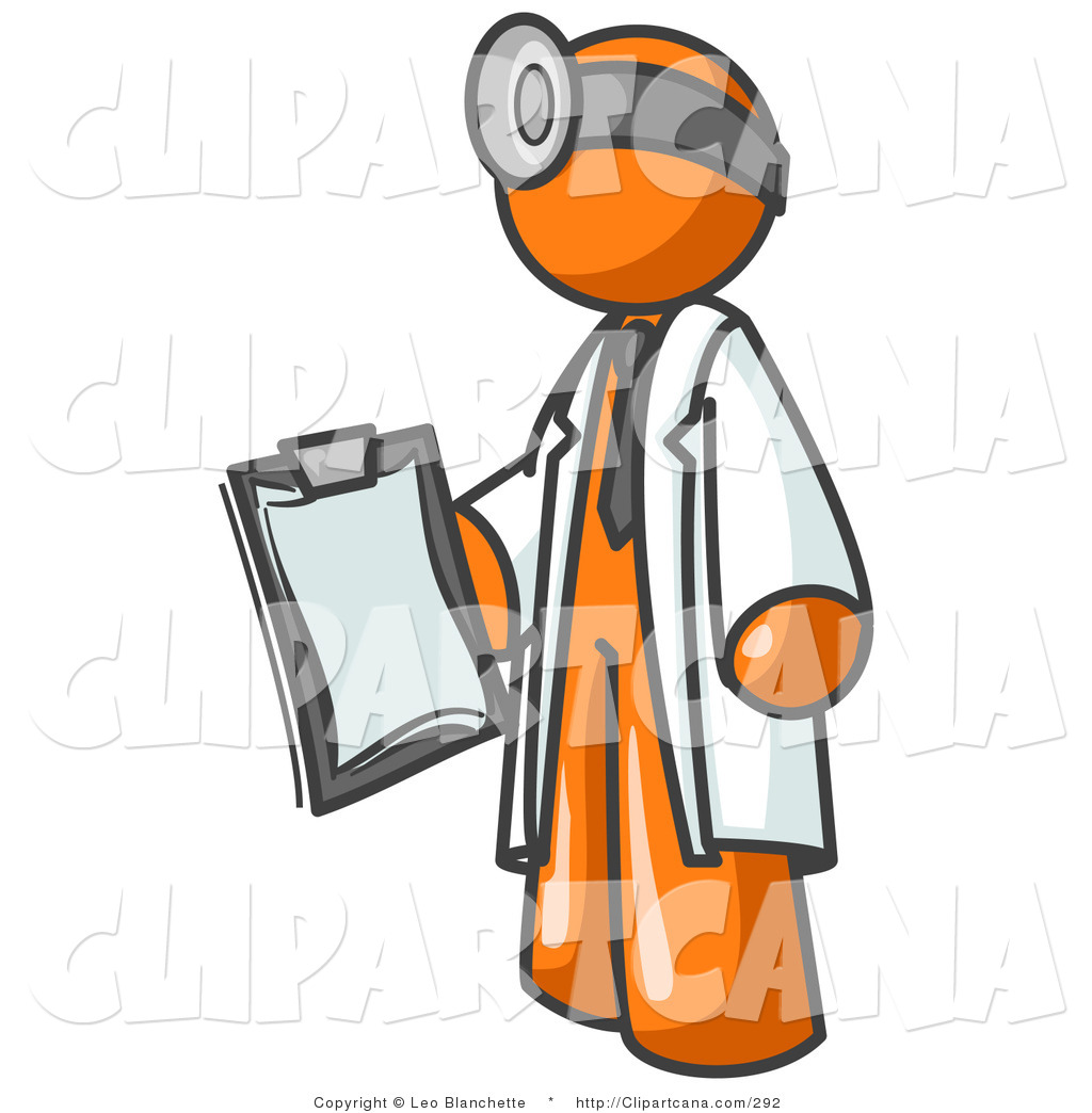 Art Of An Orange Male Doctor Man Holding A Clipboard By Leo Blanchette