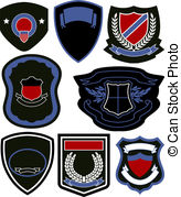 Badge Shield Symbol Set Stock Illustrations