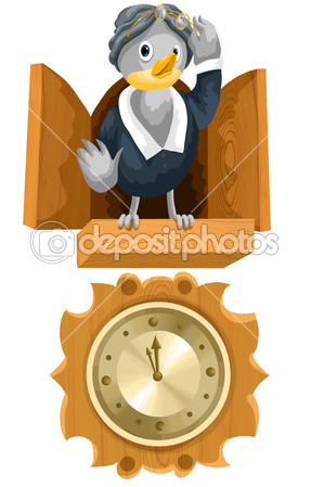 Bird Cuckoo Clock Clipart Cartoon Style Vector Illustration White