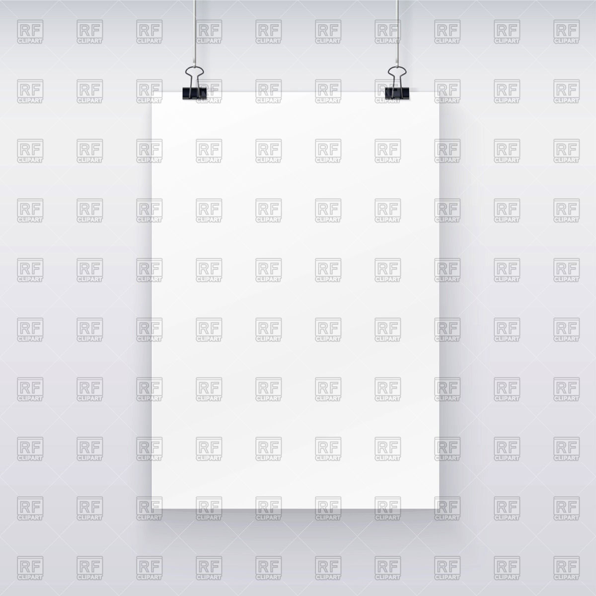 Blank Paper Sheet Hanging On Binder Clips Download Royalty Free