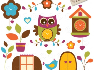 Cart Clipart Cuckoo Clocks Cute Owl On A Branch Cuckoo Clock In Fall