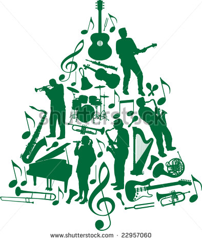 Christmas Tree Made Of Musicians And Musical Instruments Stock Photo