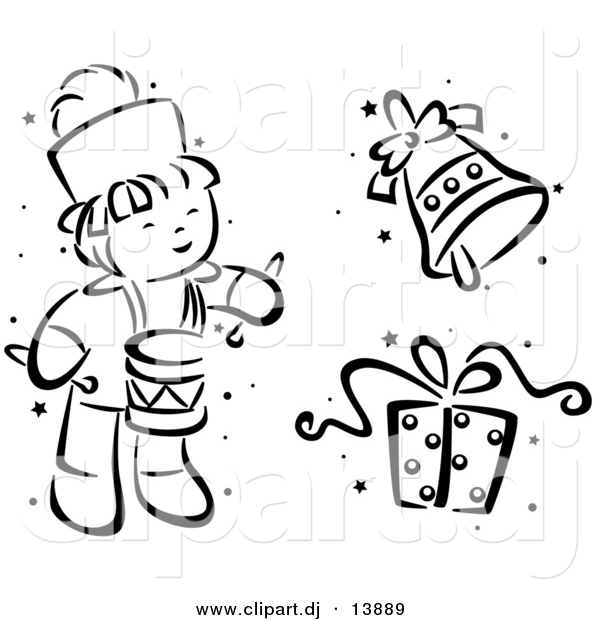 Clipart Of A Cartoon Christmas Drummer Bell And Gift Black And White