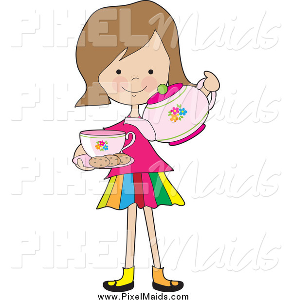Clipart Of A Little Girl Pouring Tea With Cookies By Maria Bell