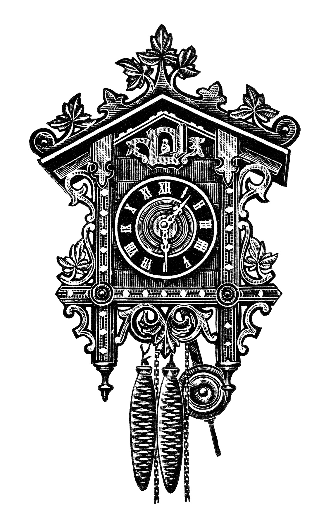 Clock Clip Art Free Black And White Clipart Antique German Clock
