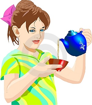 Digital Illustration Of A Girl Pouring Tea Painted In The Computer