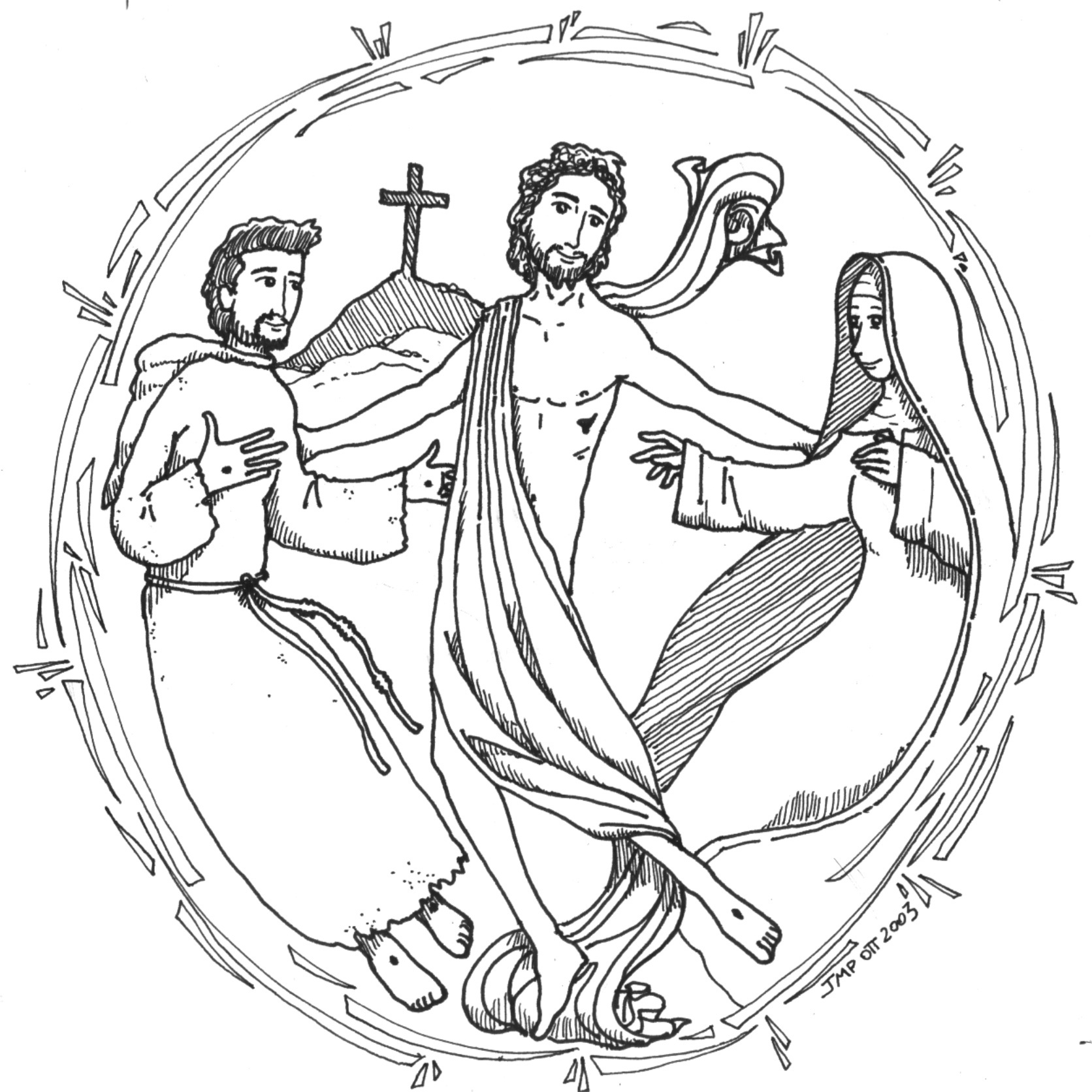 Clip art of st francis blessing the animals clipart for St francis coloring page