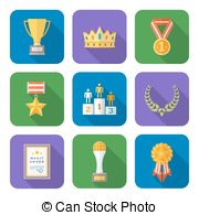 Flat Style Colored Various Awards Symbols Icons Collection Stock
