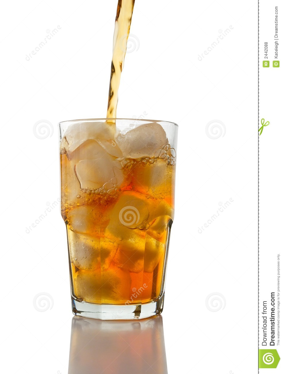 Iced Tea Pouring Into A Glass Of Ice On A White Background   Clipping