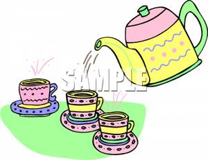 Kettle Pouring Tea For Three Cups Clipart Picture