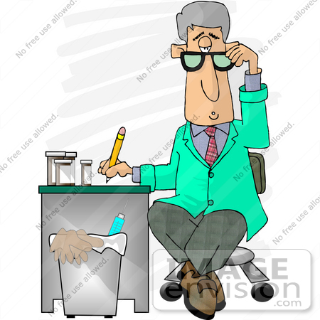 Male Doctor In A Green Jacket Writing Notes On A Patient Clipart By