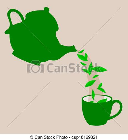 Of A Teapot Pouring Tea Leaves    Csp18169321   Search Clipart