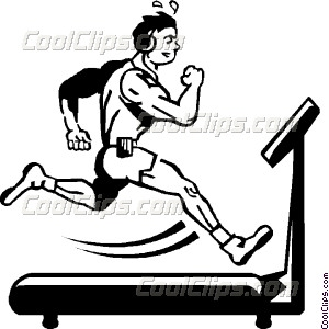 Person Running On A Treadmill Vector Clip Art
